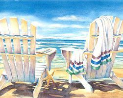 Plaid Seaside (Chairs on Beach) (11x14) Beginner Paint By Number Kit #22058