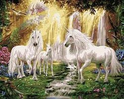 Plaid Waterfall Glade Unicorns (16x20) Paint By Number Kit #22060