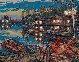 Plaid Loon Lake Canvas (Chairs at Dock/Cabin) (11x14) Beginner Paint By Number Kit #22064