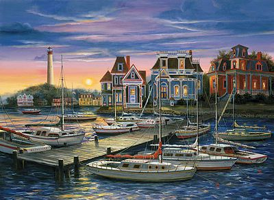 Plaid Paint By Numbers Cape May Harbor Canvas with lights -- Paint By Number Kit -- #22067