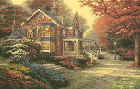 Plaid Thomas Kinkade Victorian Autumn Paint by Number (16x20) Paint By Number Kit #22085