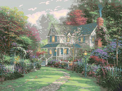 Plaid Paint By Numbers Thomas Kinkade- Victorian Garden II Paint by Number (20''x16'')