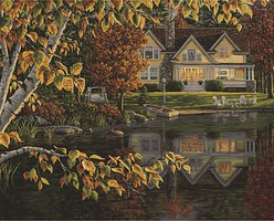 Plaid Autumn Reflections (Lakeside Cottage) Paint by Number (20x16)