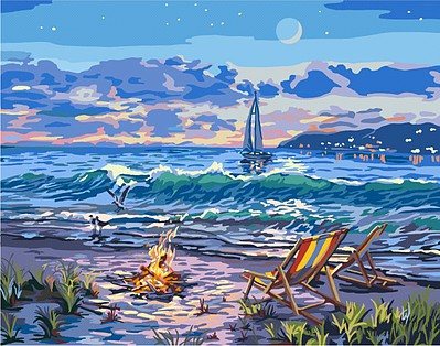 Plaid Paint By Numbers Beach Moonlit Night w/Fire Canvas Paint by Number w/Lights (11''x14'')