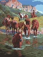 Plaid The Crossing (Horses/Stream)(16x20) Paint By Number Kit #59776