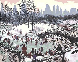 Plaid Smithsonian American Art Skating in Central Park (20x16) Paint By Number Kit #59780