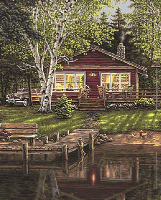 Plaid Paint By Numbers Simpler Times (Cabin/Dock) Paint by Number (20''x16'')