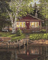 Plaid Simpler Times (Cabin/Dock) Paint by Number (20x16)