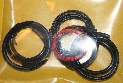 Parts By Parks Radiator Hose, Black Heater Hose, Red Battery Cable -- Plastic Model Engine Detail -- 1/25 -- #1010