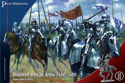 Perry Miniatures Mounted Men At Arms 1450-1500 (12) -- Plastic Model Military Figure -- 28mm -- #303