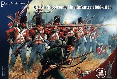 Perry Miniatures British Napoleonic Line Infantry 1808-15 (40) -- Plastic Model Military Figure -- 28mm -- #501