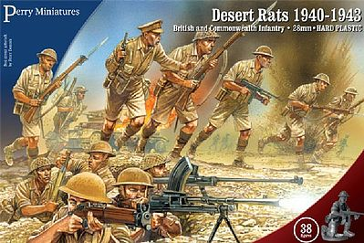 Perry Miniatures British & Commonwealth Infantry Desert Rats 1940-43 -- Plastic Model Military Figure -- 28mm -- #601