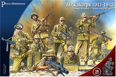 Perry Miniatures German Infantry Afrika Korps 1941-43 (38) -- Plastic Model Military Figure -- 28mm -- #602