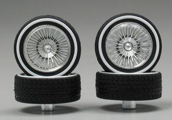 Pegasus Chrome DZs w/Whitewall Tire (4) Plastic Model Tire Wheel 1/24 Scale #1109