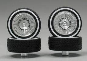 Pegasus Chrome DZ's w/Whitewall Tire (4) Plastic Model Tire Wheel 1/24 Scale #1109