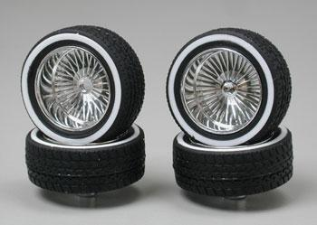 Pegasus Hobbies Chrome Deep DZ's w/Whitewall (4) -- Plastic Model Tire Wheel -- 1/24 Scale -- #1113