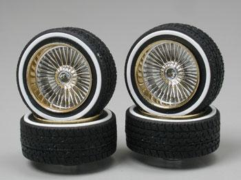 Pegasus Hobbies Gold Face DZ's w/Whitewall (4) -- Plastic Model Tire Wheel -- 1/24 Scale -- #1119