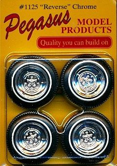 Pegasus Hobbies Chrome Reverse Rims/Tires (4) -- Plastic Model Tire Wheel -- 1/24 Scale -- #1125