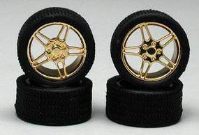 Pegasus Elite Gold Rims w/Tires (4) Plastic Model Tire Wheel 1/24 Scale #1224