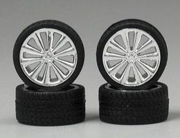 Pegasus Chrome Bellas Rims w/Tires (4) Plastic Model Tire Wheel 1/24 Scale #1250