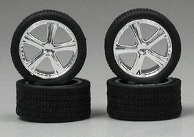 Pegasus Belagios Chrome Rims with Tires (4) Plastic Model Vehicle Accessory 1/24 Scale #1262