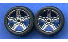 Pegasus Chrome Iroks Rims w/Tires (4) Plastic Model Tire Wheel 1/24 Scale #1266