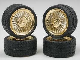 Pegasus Gold Apollos Rims w/Tires (4) Plastic Model Tire Wheel 1/24 Scale #1272