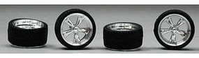 Pegasus T's Chrome Rims w/Tires (4) Plastic Model Tire Wheel 1/24 Scale #1274