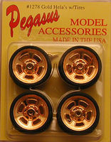 Pegasus Hellas 19 Gold Rims w/Tires (4) Plastic Model Tire Wheel 1/24 Scale #1278