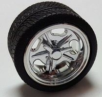 Pegasus 1/24-1/25 Shueys Chrome Rims with Tires (4) Plastic Model Tire Wheel