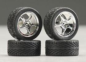 Pegasus 19 Altas w/Tires Chrome (4) Plastic Model Tire Wheel 1/24 Scale #1284