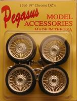 Pegasus Chrome 19 DZ's w/Low Profile Tires (4) Plastic Model Tire Wheel 1/24 Scale #1296