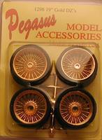 Pegasus Dzs 19 Gold Rims w/Low Profile Tires (4) Plastic Model Tire Wheel 1/24 Scale #1298