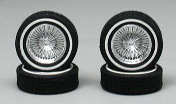 Pegasus Low Profile Whitewall Chrome (4) Plastic Model Tire Wheel 1/18 Scale #1401