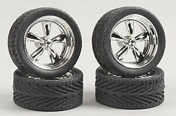 Pegasus Hobbies T's w/Tires 23'' Chrome (4) -- Plastic Model Tire Wheel -- 1/24 Scale -- #2301
