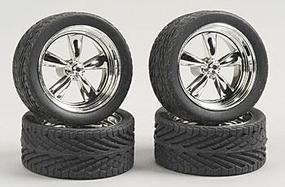 Pegasus T's w/Tires 23'' Chrome (4) Plastic Model Tire Wheel 1/24 Scale #2301