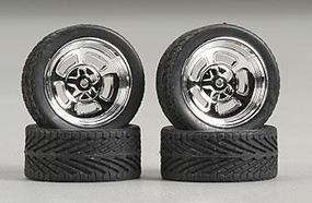Pegasus Hollis w/Tires 23 Chrome (4) Plastic Model Tire Wheel 1/24 Scale #2305