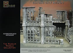 Pegasus Hobbies Gothic City Building Ruins Set #1 -- Plastic Model Building Kit -- 28mm Scale -- #4930