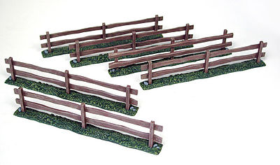 Pegasus Wooden Fences (6) (Painted) Plastic Model Military Diorama 1/32 or 1/72 Scale #5201