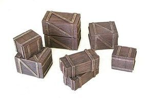 Pegasus Wooden Boxes & Crates (8pc) (Painted) Plastic Model Diorama  1/32 or 1/72 Scale #5212