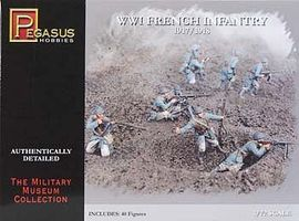 Pegasus WWI French Infantry (40) Plastic Model Military Figure 1/72 Scale #7199