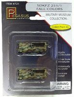 Pegasus SdKfz 251/1 Halftrack Camo (2) (Assembled) Plastic Model Military Vehicle 1/144 Scale #721