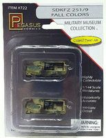 Pegasus SdKfz 251/9 Halftrack Camo (2) (Assembled) Plastic Model Military Vehicle 1/144 Scale #722