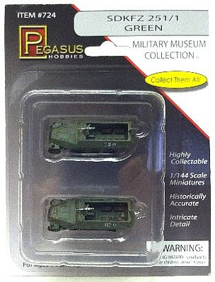 Pegasus Hobbies SdKfz 251/1 Halftrack (2) (Assembled) -- Plastic Model Military Vehicle -- 1/144 Scale -- #724