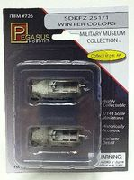 Pegasus SdKfz 251/1 Halftrack (2) (Assembled) Plastic Model Military Vehicle 1/144 Scale #726