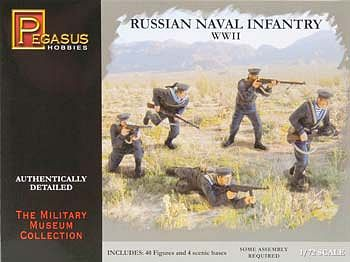 Pegasus Hobbies Russian Naval Infantry (12) -- Plastic Model Military Figure -- 1/72 Scale -- #7270