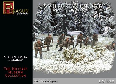 Pegasus Russian Infantry Winter Dress WWII Set #2 Plastic Model Military Figure 1/72 Scale #7272