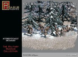 Pegasus Russian Support Team Greatcoats WWII (26) Plastic Model Military Figure 1/72 Scale #7274