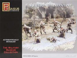 Pegasus WWII French Infantry (40) Plastic Model Military Figure 1/72 Scale #7306