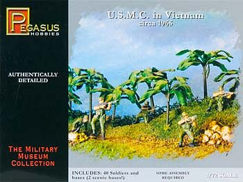 Pegasus Hobbies USMC in Vietnam 1965 (40) -- Plastic Model Military Figure -- 1/72 Scale -- #7401